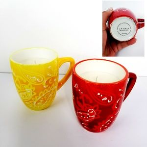 Laurie Gates Mug Candles Red Yellow Set of 2